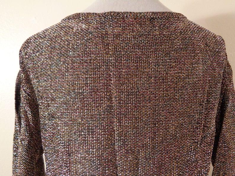 70s Sally Gee Multi Color Metallic Semi Sheer Disco Shift Dress Sz M