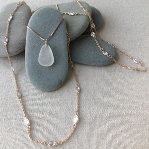 TRENDING Rose Gold Sun Charm Necklace with Rare Pink Genuine Sea Glass