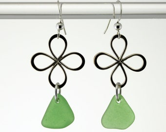 Four Leaf Clover SS Earrings with Kelly Green Genuine Sea Glass