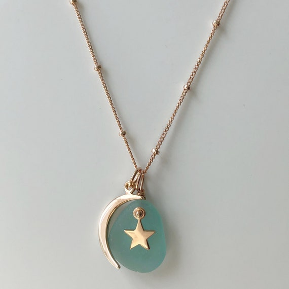 TRENDING Rose Gold Crescent Moon and Star Necklace with Rare Pink Genuine Sea Glass