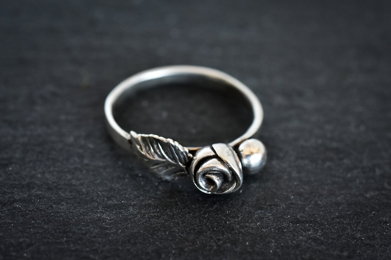 one of a kind flower ring handmade in solid sterling silver precious metal clay Sterling Rose bud and leaf ring in size 8 14