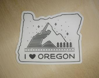 "I [heart] Oregon State 4"" clear sticker - Black or White"