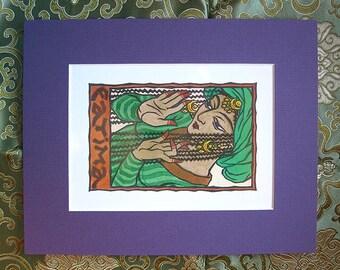 Fatima Print with Purple Matte