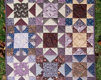 Purple and Brown Northern Star Mini Quilt
