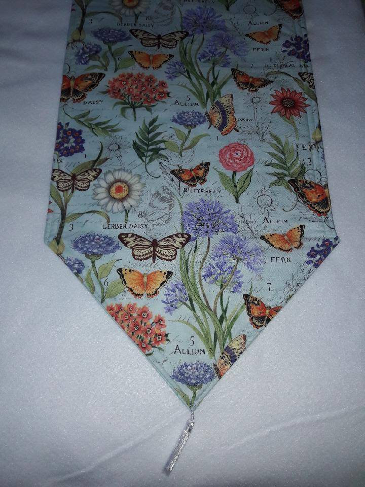 and Padded Handmade,72x14 Butterfly Themed Table Runner Reversible