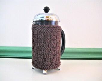 French Press Coffee Cozy , Warm Brown Basketweave