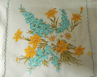 "Vintage Hankie/Hanky Huge With Tags Daffodils and Foxgloves: ""Fairies Garden"""
