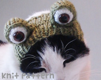 KNITTING PATTERN - Pet Hat Costume - PDF Instant Download - Frog Cat - Cute Halloween Disguise