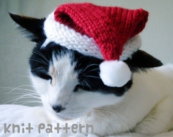 KNITTING PATTERN - Pet Hat Costume - PDF Instant Download - Santa Claus Cat - Cute Christmas Gift