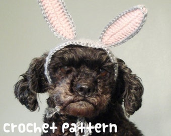 CROCHET PATTERN - Pet Hat Costume - PDF Instant Download - Bunny Rabbit Dog