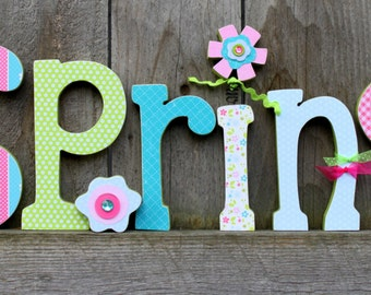 SPRING wood letters
