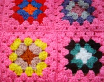 New Handmade Pretty n Pink granny square afghan