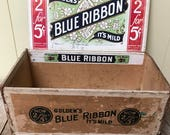 Cigar Box Advertising Crate 1933 Store Display Golden 39 s Blue Ribbon Mild Cigars Tobacco Smoking Country Store Display Man cave Decor