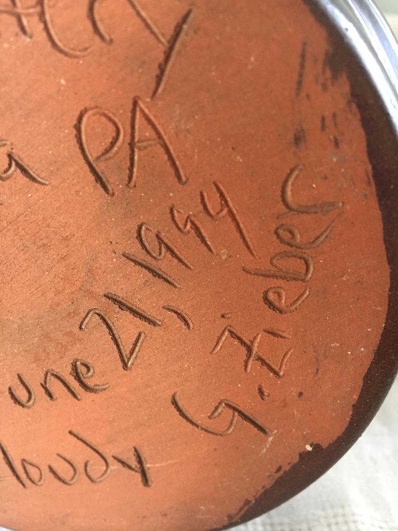 Betty Lamp Pottery  Breininger Pottery Pa Zieber Dark Brown Glaze Redware Betty Lamp Signed G