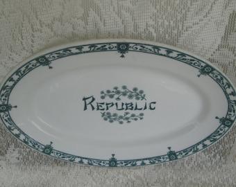 Restaurant ware platter Green White Tranferware China Restaurantware McNicol China Calif.Republic Restaurant Platter Diner Hotel Tableware & Diner tableware | Etsy