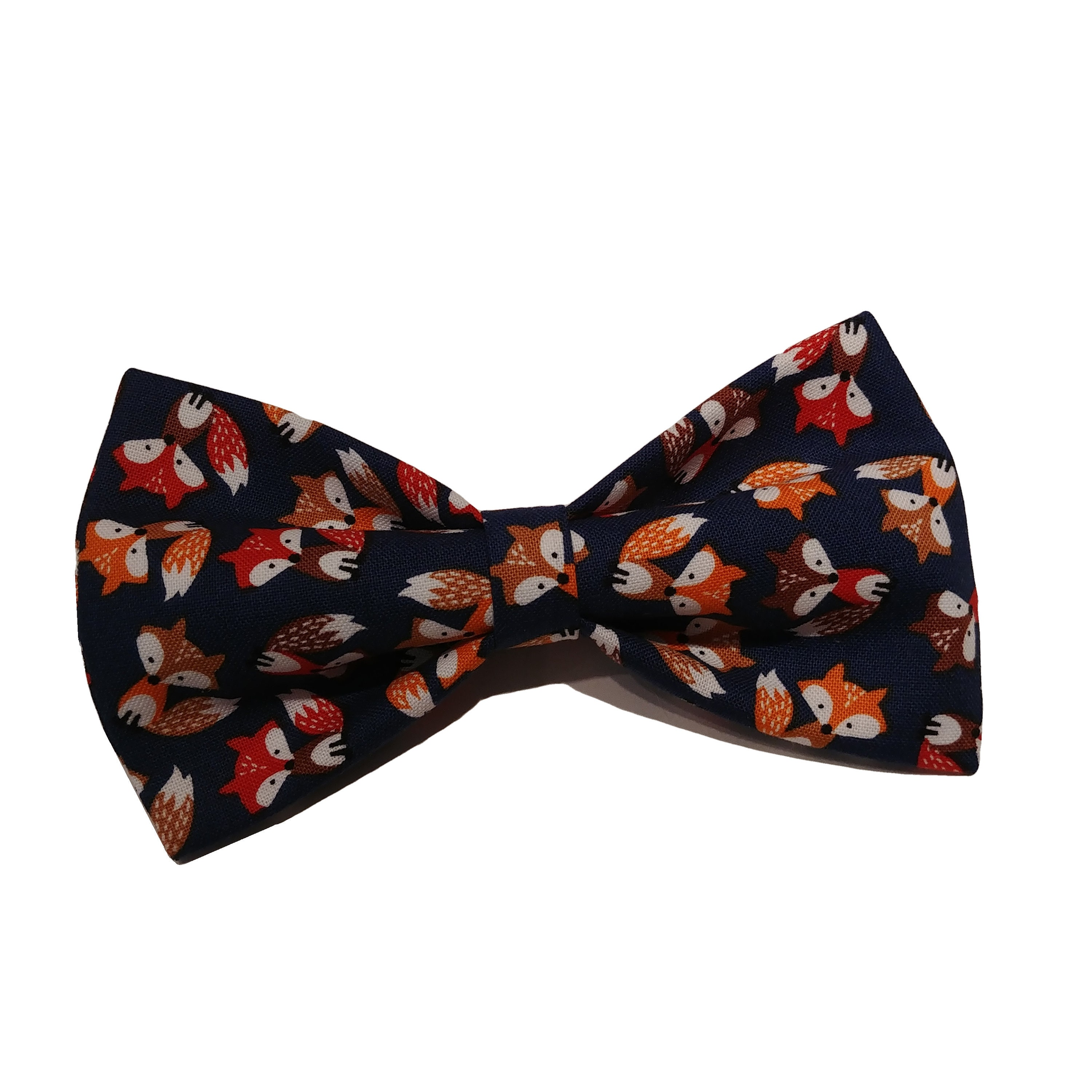 Fox Blue Bow Tie Dog Bowtie Cat Fall Clip on Bow