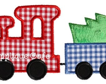 222 Christmas Train Machine Embroidery Applique Design