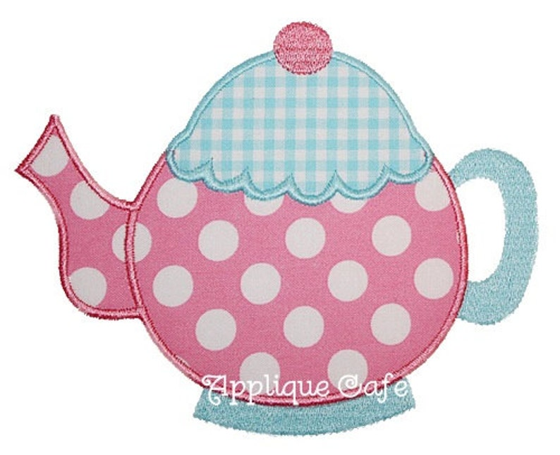 Teapot machine embroidery applique design etsy