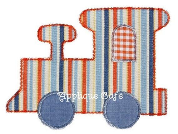 Zig zag train machine embroidery applique design etsy