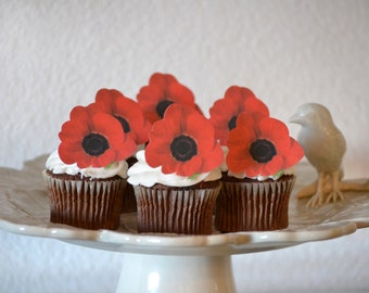 Cake Toppers Remeberance day 11th november poppy red edible ...