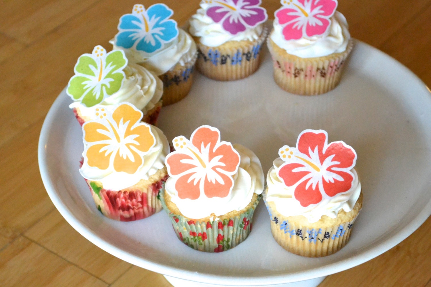 Edible Hawaiian Tropical Hibiscus Flowers Cake Cupcake Toppers Food Decorations