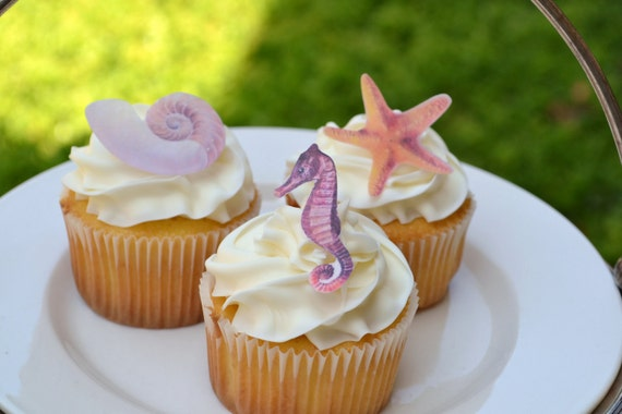 Wedding Cake Topper The Original Edible -  By the Sea set of 24 -  Cake & Cupcake toppers - Food accessories