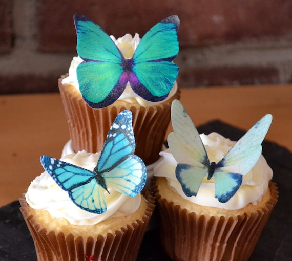 EDIBLE BUTTERFLIES The Original - Large Assorted Green - Cake & Cupcake toppers -PRECUT and Ready to Use
