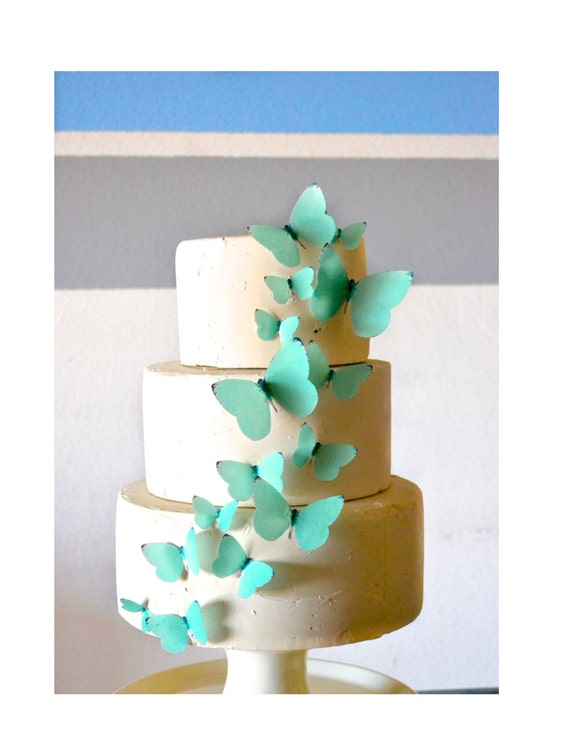 Wedding Cake Topper Edible Butterflies Teal Blue Green -  set of 15 - Cake & Cupcake Toppers - Food Decoration Wedding Cake Decoration