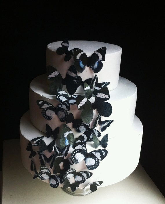 Wedding Cake Topper The Original EDIBLE BUTTERFLIES  Cake & Cupcake toppers -Assorted Black set of 30 - Food Accessories