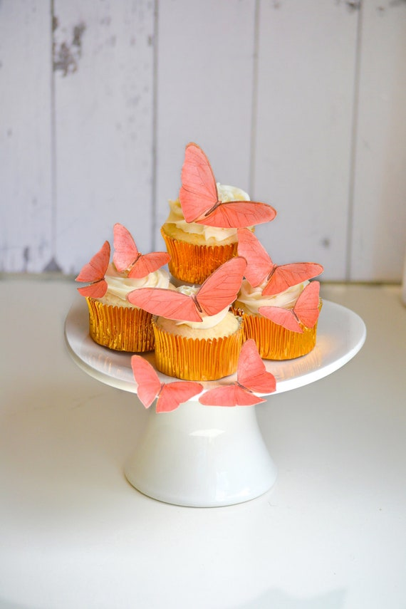 Edible Butterflies in Coral -  set of 15 - Cake & Cupcake Toppers - Food Decoration Wedding Cake Decoration