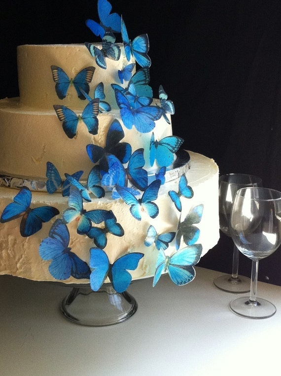 Wedding Cake Topper The Original EDIBLE BUTTERFLIES - Assorted Blue set of 30 - Cake & Cupcake toppers - Food Accessories