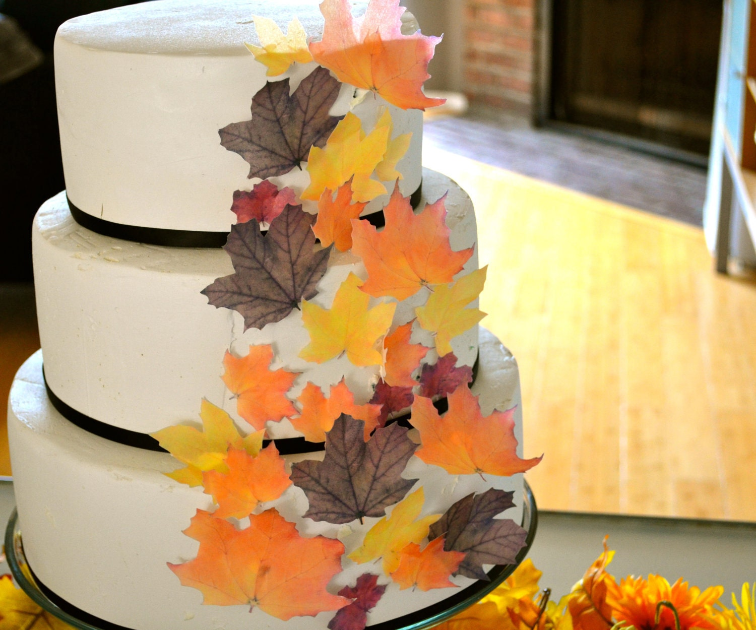 Wedding Cake Topper EDIBLE Fall Leaves Assorted set of 32 | Etsy