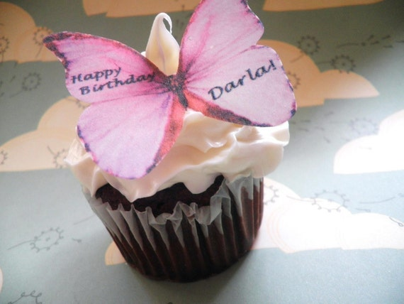 Wedding Cake Topper Edible Butterflies Personalzed - Pink - Food Decorations Cake and Cupacke Decoration