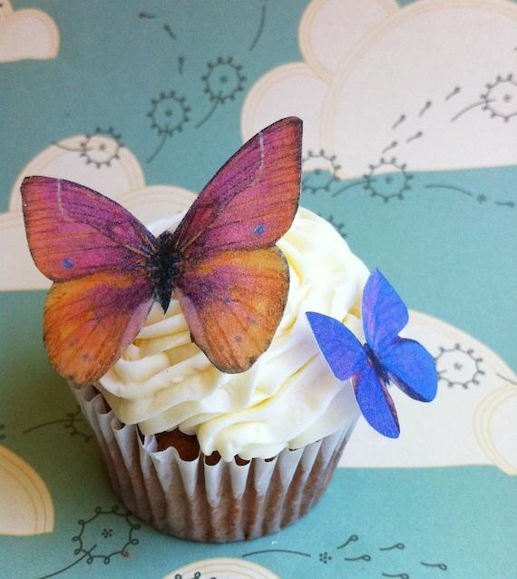 Wedding Cake Topper The Original EDIBLE BUTTERFLIES  - Orange and Violet Set