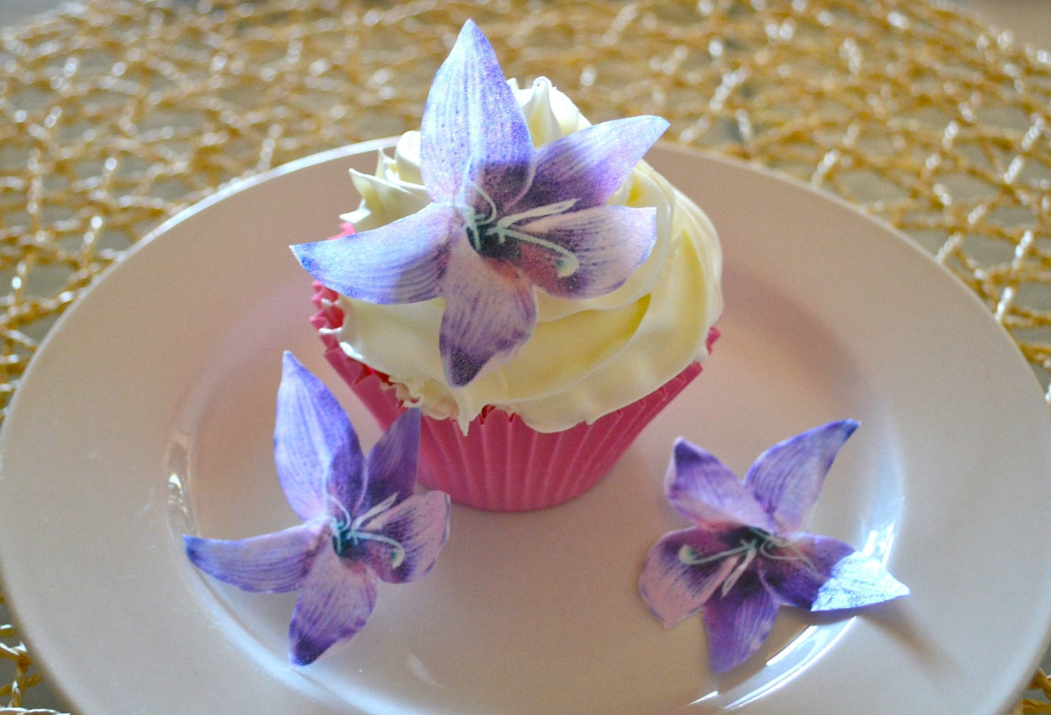Edible Lily Flower Purple Set Of 12 Cake Cupcake Toppers Food