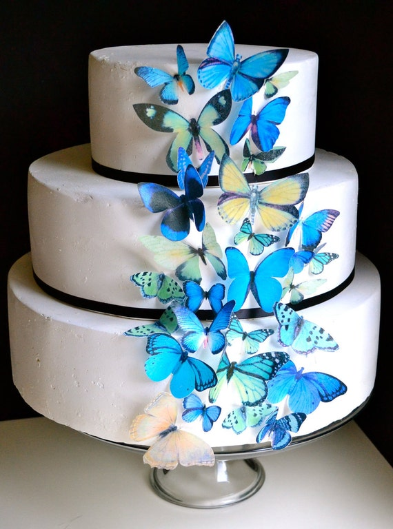 Wedding Cake Topper Blue and Green EDIBLE Butterflies - Edible Butterfly Wedding Cake & Cupcake Toppers, PRECUT and Ready to Use
