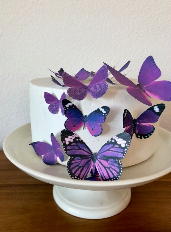 Edible Butterflies Assorted set of 15 Royal Purple- Cake and Cupcake Topper Decoration Supply