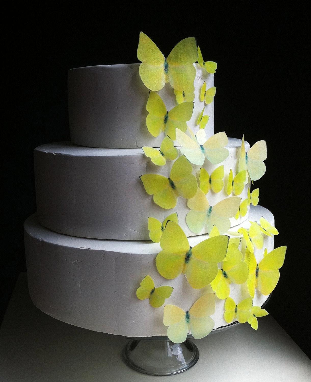Wedding Cake Topper EDIBLE BUTTERFLIES - Assorted Yellow Buttercups ...