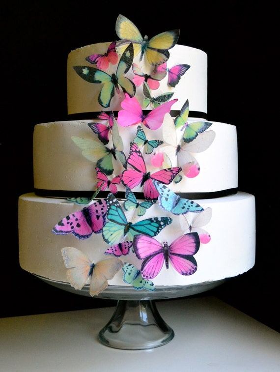 EDIBLE BUTTERFLIES - Cake & Cupcake Toppers - Butterfly Birthday Cake - Assorted Pink and Green set of 30