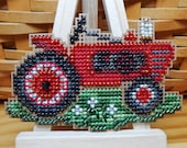 Grandpa 39 s Tractor Cross Stitched and Beaded Suitcase Ornament, Magnet, or Pin - Free U.S. Shipping