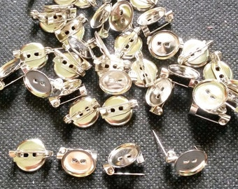 50 pcs Tiny Silver Tone Round Pin Back findings size 12 mm