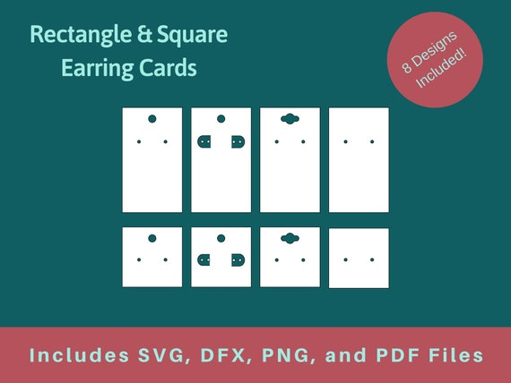 Rectangle And Square Earring Cards Svg File In 8 Different Etsy