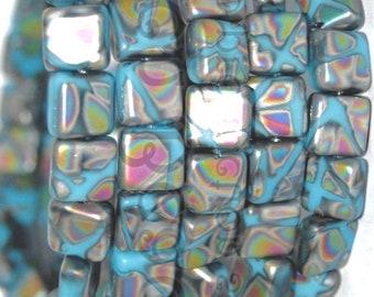 4 Beads Czech Glass Oceanside Mist Matte Glass Beach Beads 14mmx9mmx6mm BricksTiles Mosaic
