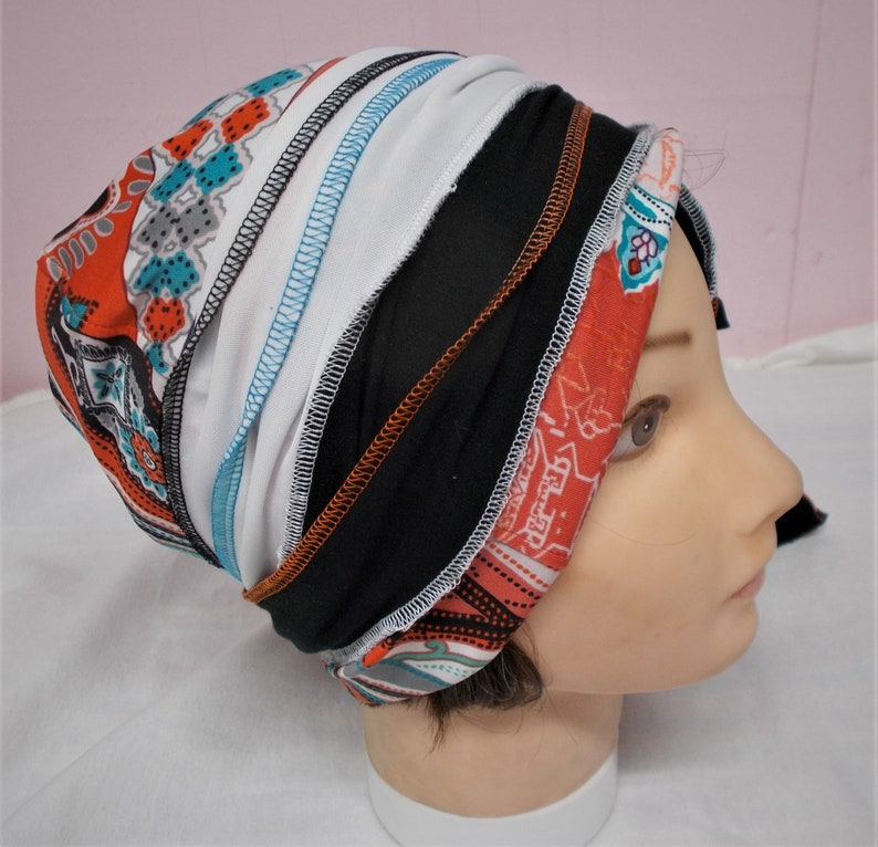 ORANGE BLUE Skullcap Beanie with Ties U Pick Womens Stretch Knit Hat