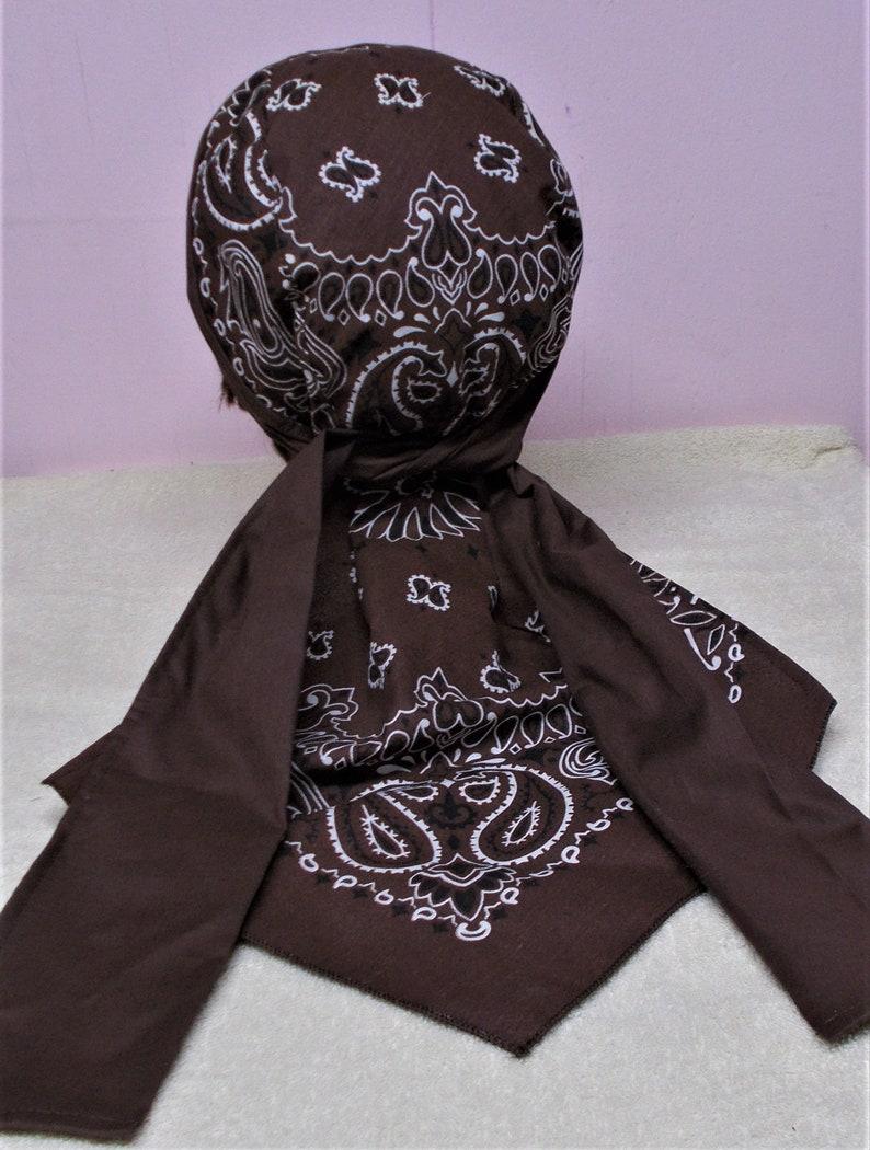 Men Womens Handmade Unisex Teen Bandana Print Chemo Do Rag XLONG Cotton Black BANDANNA Doo Rag