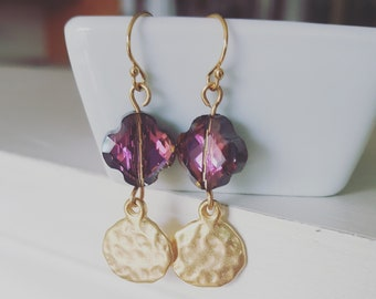 Purple Crystal and Gold Hammered Disk Earrings
