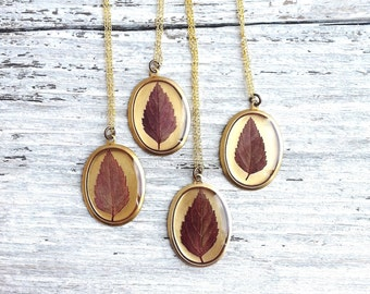 Leaf Necklace, Real Pressed Leaf Jewelry, Nature Pendant, Resin Necklace, Plant Jewelry, Gardener Naturalist Gift