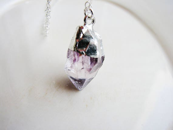 Heavy Necklace Rough Stone Purple Crystal Gemstone Necklace Statement Pendant Amethyst Crystal Necklace February Birthstone