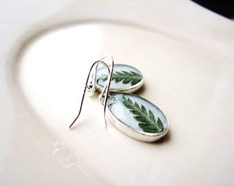 Fern Earrings Pressed Leaf Earrings Real Fern Botanical Jewelry Naturalist Terrarium Earrings Minimalist Earrings Resin Jewelry Delicate