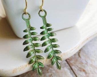 Green Fern Leaf Earrings, Patina Earrings, Metal Filigree Earrings, Leaf Earrings, Nature Jewelry, Leaf Jewelry